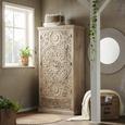 Schrank aus Mangoholz massiv - Naturfarben, ROMANTIK / LANDHAUS, Holz (90/175/45cm) - Zandiara