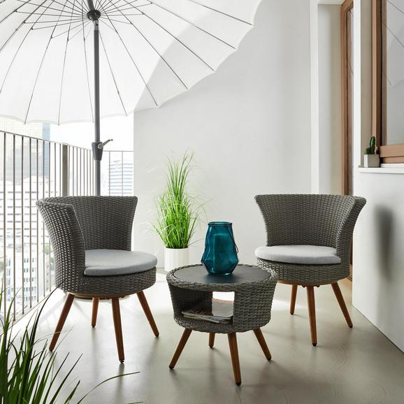 Balkonset Paola inkl. Auflagen - Hellgrau/Weiß, MODERN, Glas/Kunststoff - MODERN LIVING