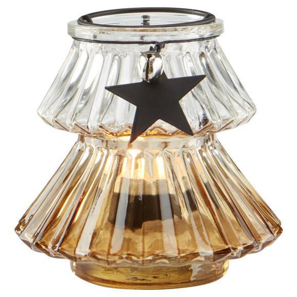 Teelichthalter Malva Ø/H ca. 11/10 cm - Klar/Silberfarben, MODERN, Glas/Metall (11/10cm) - Bessagi Home