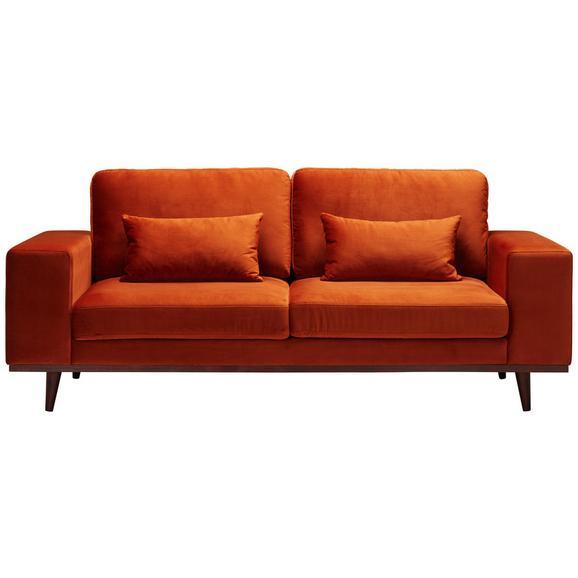 Sofa In Samt Cognacfarben - Braun/Orange, LIFESTYLE, Holz/Textil (216/85/89cm) - Premium Living