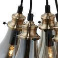Hängeleuchte max. 25 Watt Schirme Rauchglas 'Luciana' - Messingfarben/Grau, MODERN, Glas (38/132.5/15cm) - Bessagi Home