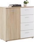 Kommode Weiß/Sonoma Eiche - Silberfarben/Weiß, MODERN, Holzwerkstoff/Kunststoff (89/91/38cm) - Mömax modern living