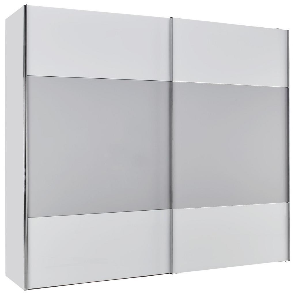 Schwebetürenschrank in Weißglas