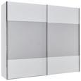Schwebetürenschrank in Weißglas - Weiß/Grau, MODERN, Holzwerkstoff (250/216/68cm) - Premium Living