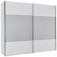 Schwebetürenschrank Weißglas/seidengrauglas - Weiß/Grau, MODERN, Holzwerkstoff (250/216/68cm) - Premium Living