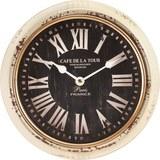 Uhr Jan in Weiss antik/ Schwarz ca.Ø24,5cm - Hellgrau/Schwarz, MODERN, Glas/Papier (24,5cm) - Bessagi Home
