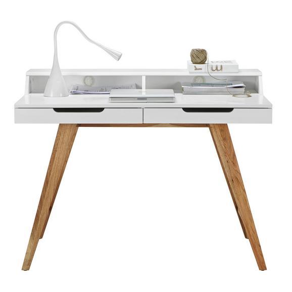 Schreibtisch in Weiß/Eichefarben - Eichefarben/Weiß, MODERN, Holz/Holzwerkstoff (110/85/58cm) - Zandiara