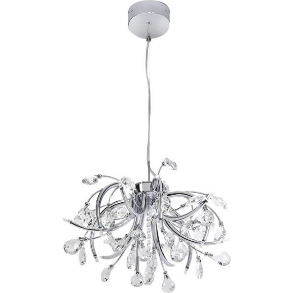 Pendelleuchte Antoinette 12-flammig - Chromfarben, MODERN, Glas/Metall (50/98cm) - Premium Living
