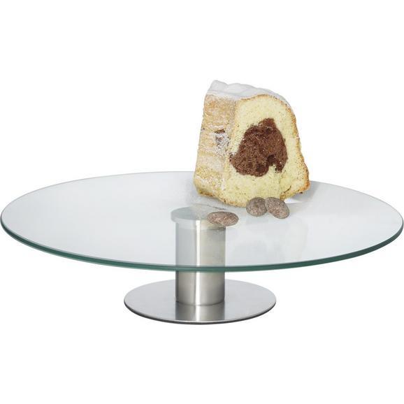 Tortenplatte LUISA aus Metall und Glas - Klar/Silberfarben, Glas/Metall (30/7cm) - Mömax modern living