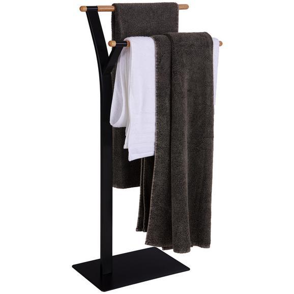 Suport Pentru Prosop Lacchio - culoare natur/negru, Konventionell, lemn/metal (42/87/20cm) - Homezone
