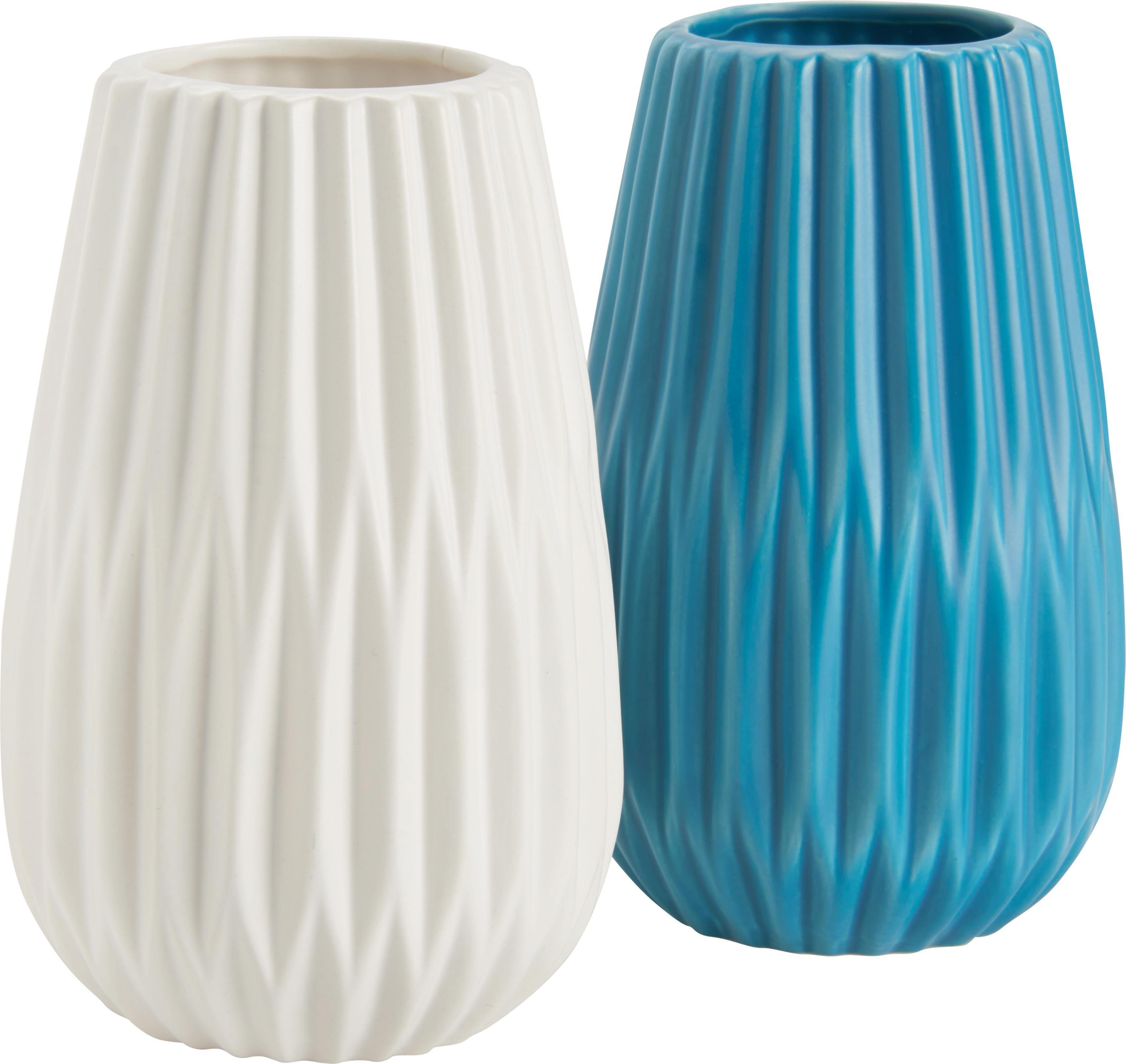 Vase Livia in Weiß/Türkis - Türkis/Weiß, Keramik (12/18,5cm) - MÖMAX modern living