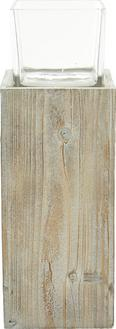Windlicht Pia inkl.glas - Klar/Kieferfarben, MODERN, Glas/Holz (18/18/54cm) - MÖMAX modern living