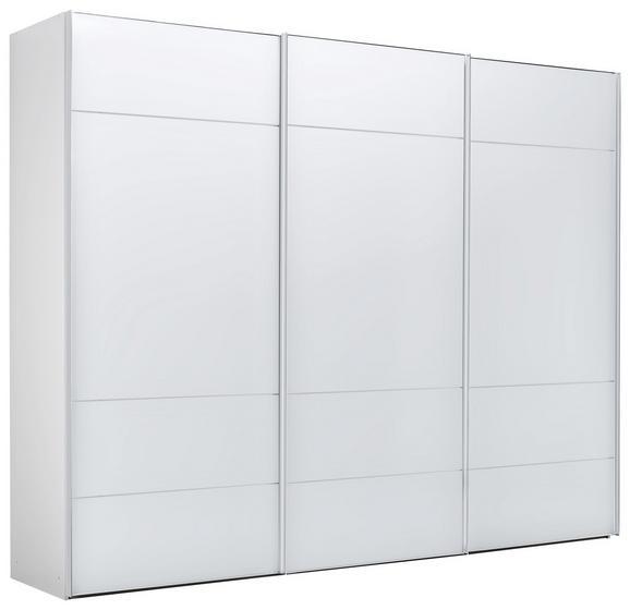 Schwebetürenschrank in Weiß - Chromfarben/Weiß, LIFESTYLE, Glas/Holzwerkstoff (298/222/68cm) - Premium Living