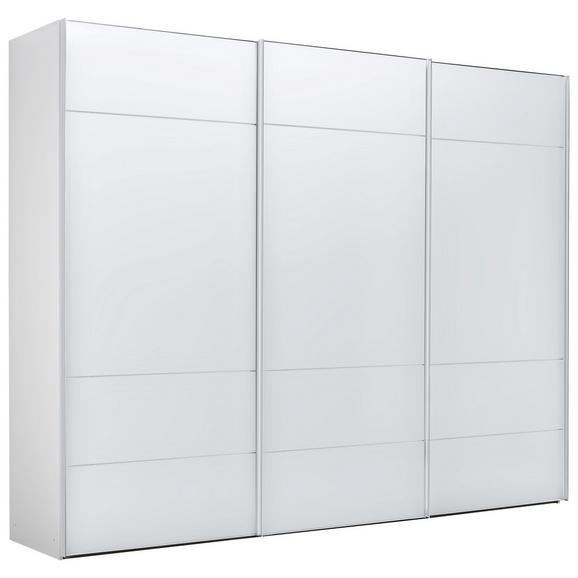 Schwebetürenschrank in Weiß - Chromfarben/Weiß, LIFESTYLE, Glas/Holzwerkstoff (249/222/68cm) - Premium Living