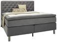 Boxspringbett Grau 180x200cm - Grau, ROMANTIK / LANDHAUS, Holz/Textil (213/180/135cm) - Premium Living