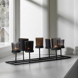 Kerzenhalter in Schwarz ca. 46/16,5cm 'Meike' - Schwarz, MODERN, Glas/Metall (46/17,5/16,5cm) - Bessagi Home