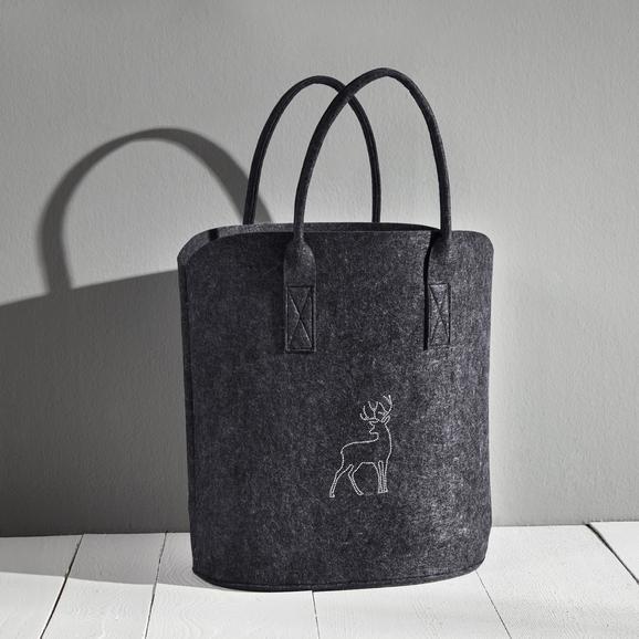 Einkaufstasche Luca ca.40x45cm - Dunkelgrau, MODERN, Textil (40/25/45cm) - Mömax modern living