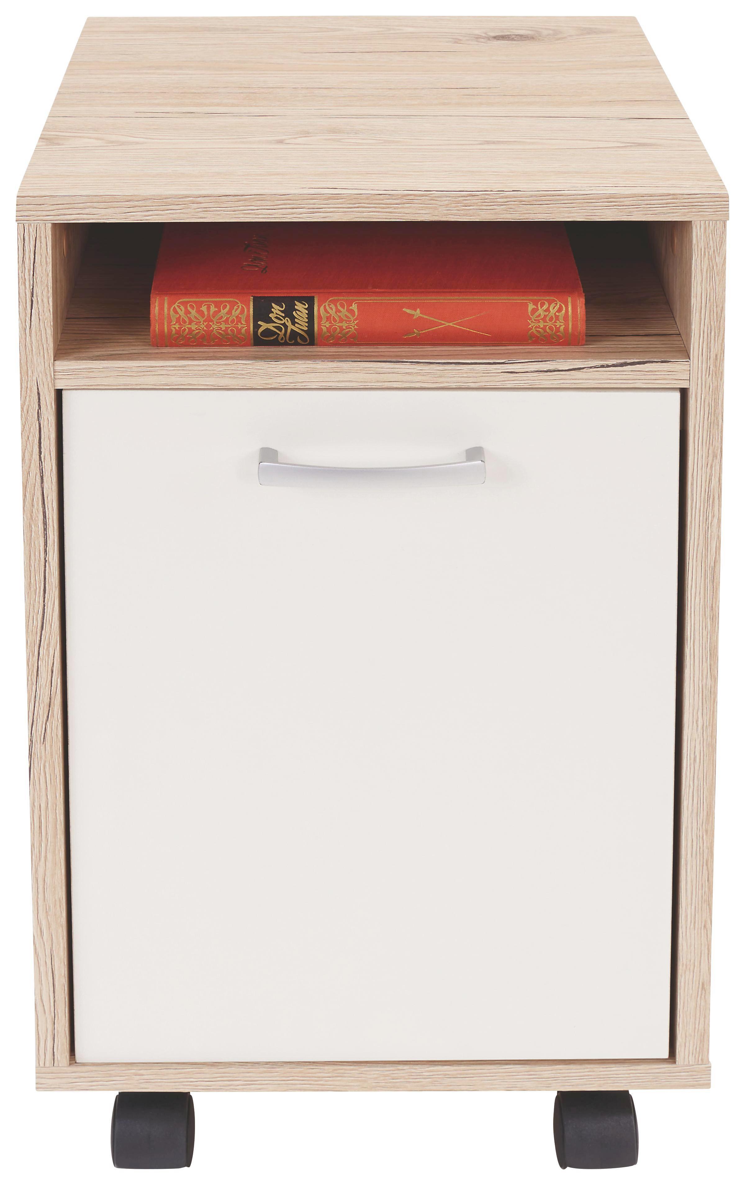 Görgős Konténer Laurenc - tölgy színű/fehér, modern, műanyag (33/59,5/38cm)