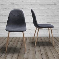 STUHL Antonia - Dunkelgrau/Teakfarben, MODERN, Textil/Metall (44/86/54cm) - Mömax modern living
