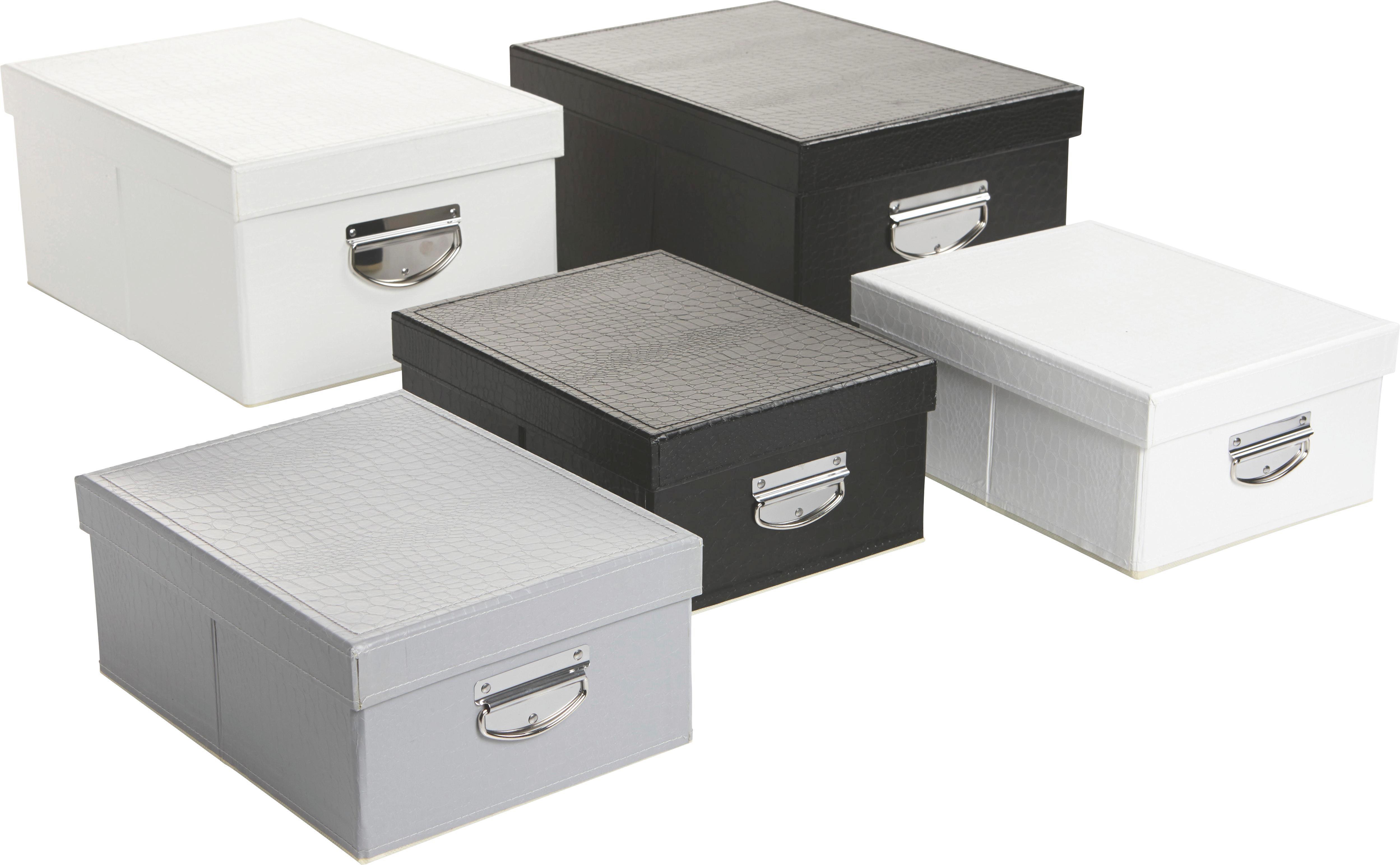 Aufbewahrungsbox Willi ca. 30x23cm - Schwarz/Weiß, MODERN, Karton (30/23/13cm) - MÖMAX modern living