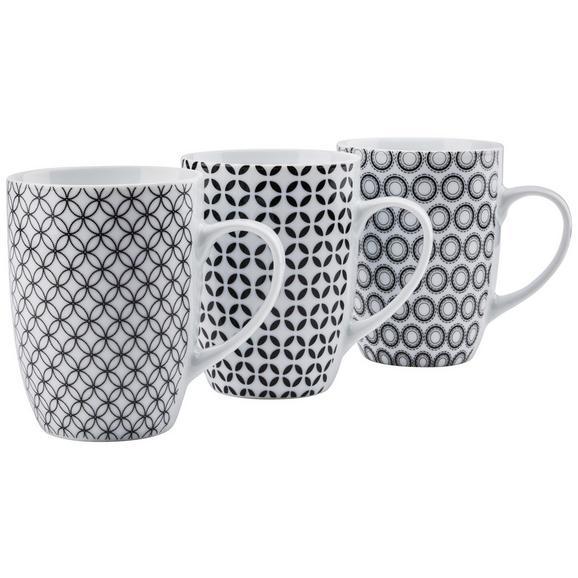 Kaffeebecher Samy in verschiedenen Designs - Schwarz/Weiß, Keramik (8,3/10,5cm) - Mömax modern living