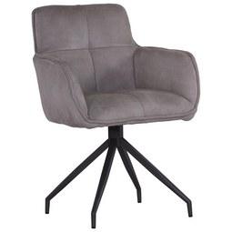 Stuhl in Hellgrau - Anthrazit/Hellgrau, MODERN, Textil/Metall (61,5/88/59cm) - Premium Living