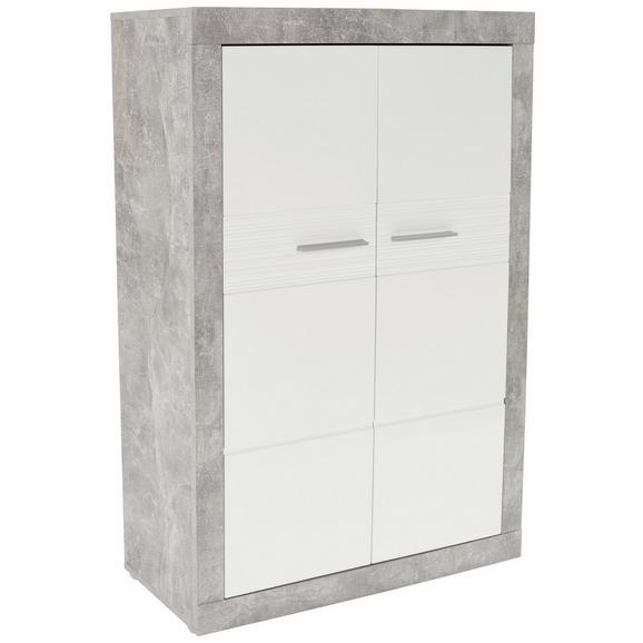 Komoda Visoka Malta - bijela/siva, Modern, staklo/drvni materijal (96/132/35cm)