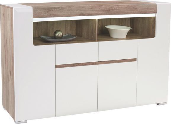 Visoka Komoda Toronto - bela/hrast, Moderno, leseni material (190/106,9/42,2cm) - Mömax modern living