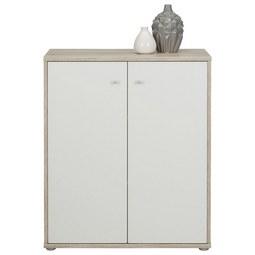 Kommode in Weiß/Sandfarben - Sandfarben/Alufarben, MODERN, Holzwerkstoff/Kunststoff (72/86/34cm)
