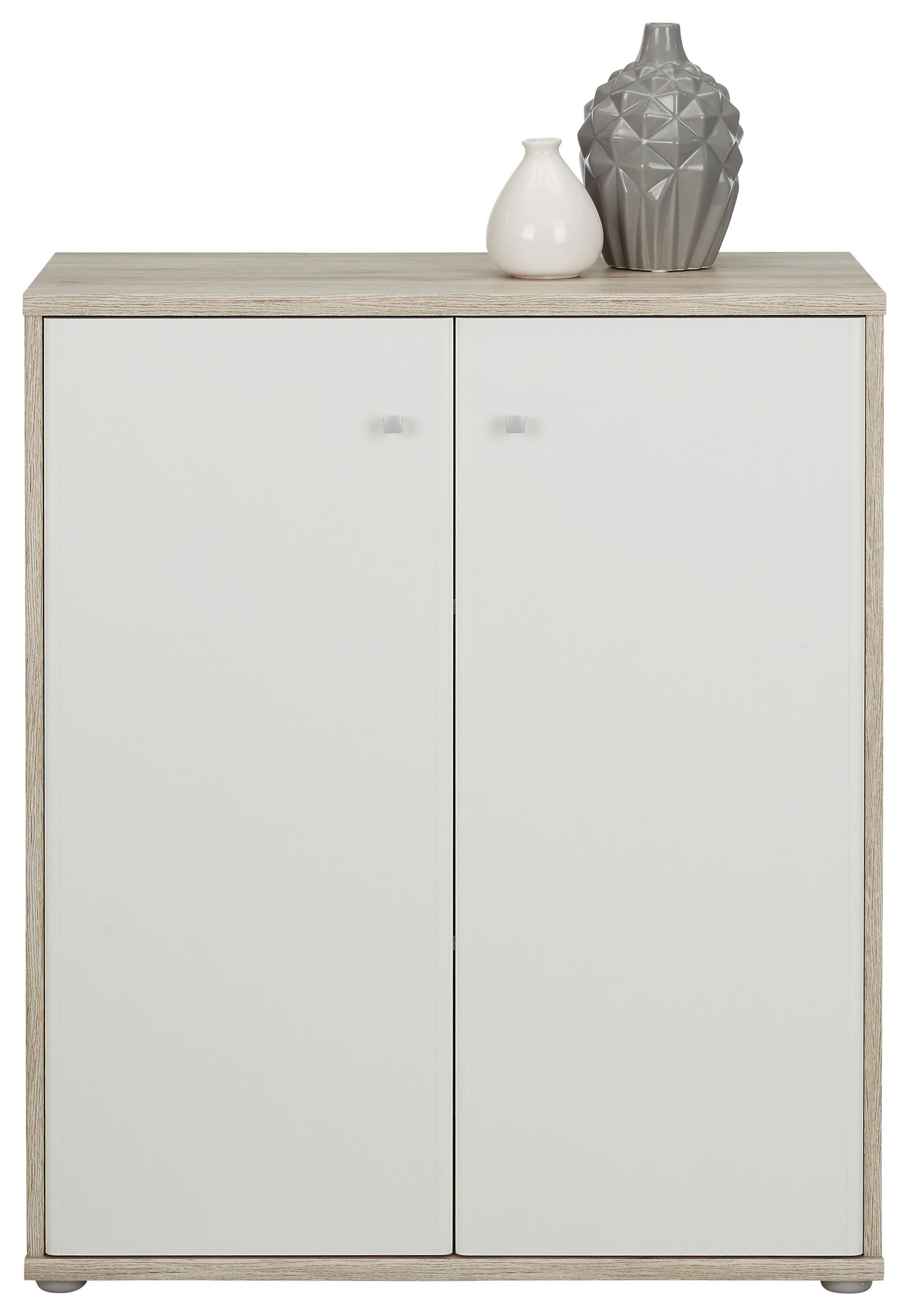 Kommode Weiß/Sandfarben   Sandfarben/Alufarben, MODERN,  Holzwerkstoff/Kunststoff (72