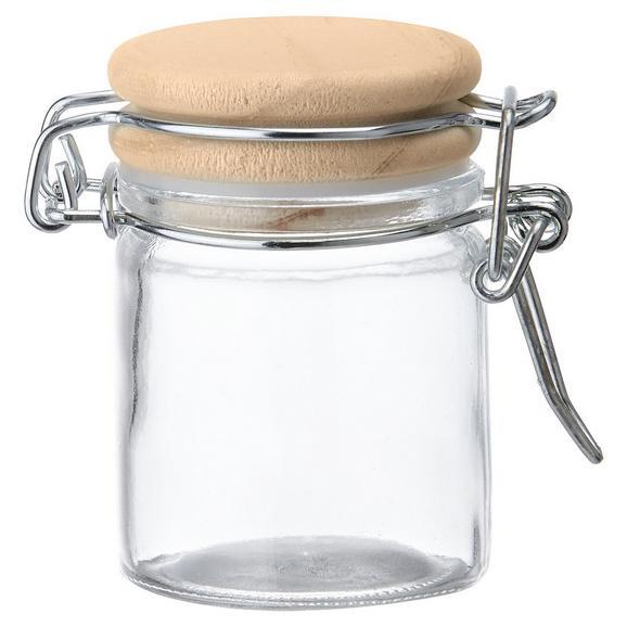 Vorratsglas Espen mit Deckel Ø ca.4,5cm - Klar/Kieferfarben, MODERN, Glas/Holz (4,5/6,1cm)
