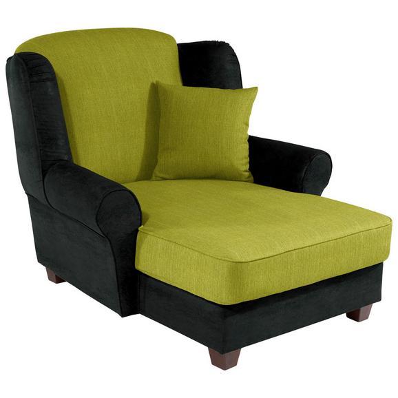 Fotelja Living - zelena/antracit, Romantik / Landhaus, drvo/tekstil (120/98/138cm)