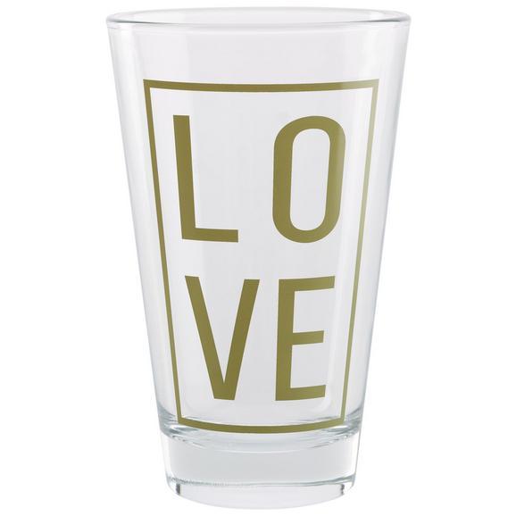 Trinkglas Love ca. 310ml - Klar/Goldfarben, MODERN, Glas (8/12,4cm) - Mömax modern living