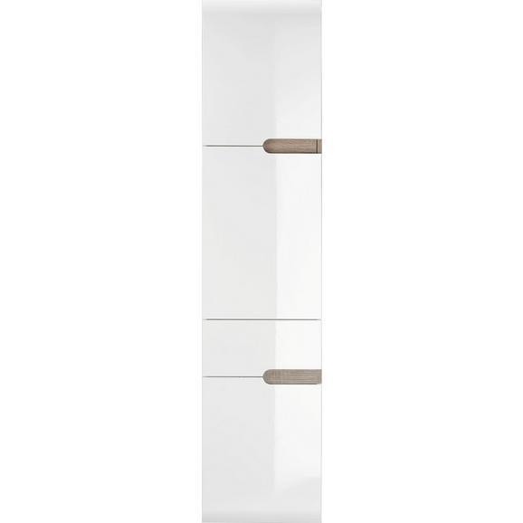 Hochschrank Weiß Hochglanz/Eichefarben - MODERN, Holzwerkstoff (40/176/31cm) - Mömax modern living