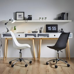Drehstuhl in Weiß 'Nico' - Chromfarben/Weiß, MODERN, Kunststoff/Metall (58/80,5/64cm) - Bessagi Home