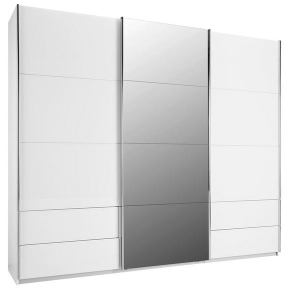Schwebetürenschrank in Weiß - Chromfarben, KONVENTIONELL, Holzwerkstoff/Metall (271/229/62cm) - Premium Living
