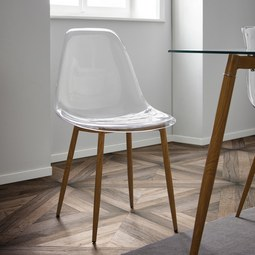 STUHL in Transparent 'Vinnie' - Transparent/Braun, MODERN, Kunststoff/Metall (47/83,5/52cm) - Bessagi Home