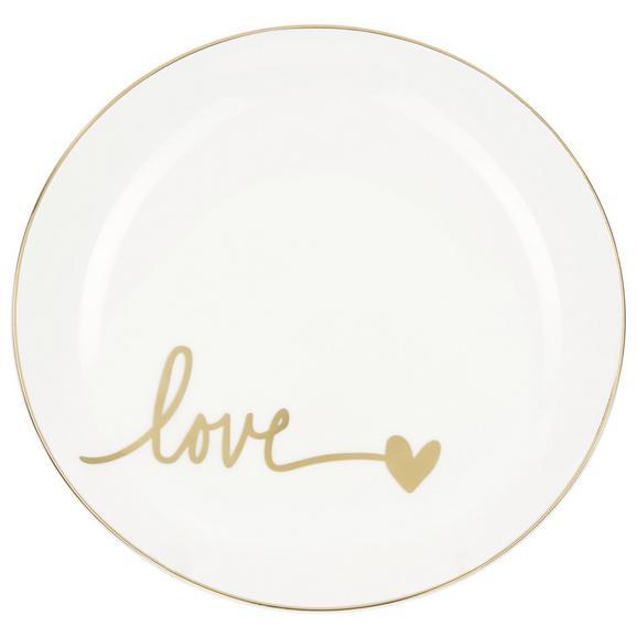 Farfurie Pentru Desert Gloria - alb/auriu, Modern, ceramică (20,5cm) - Modern Living