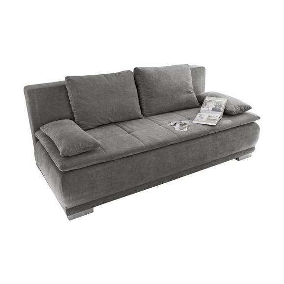 Sofa mit Schlaffunktion in Grau 'Luigi LUX.3DL' - Silberfarben/Grau, MODERN, Holzwerkstoff/Kunststoff (208/93/105cm) - Livetastic