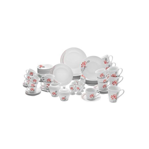 Serviciu De Masă Complet Flora - alb/roșu, ceramică - Mömax modern living