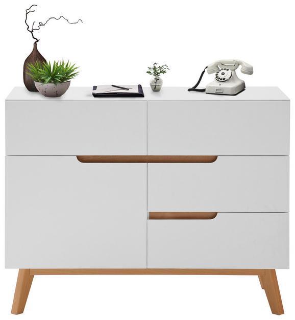 Kommode Weiß/Eiche - Eichefarben/Weiß, MODERN, Holz/Holzwerkstoff (97/76/41cm) - PREMIUM LIVING