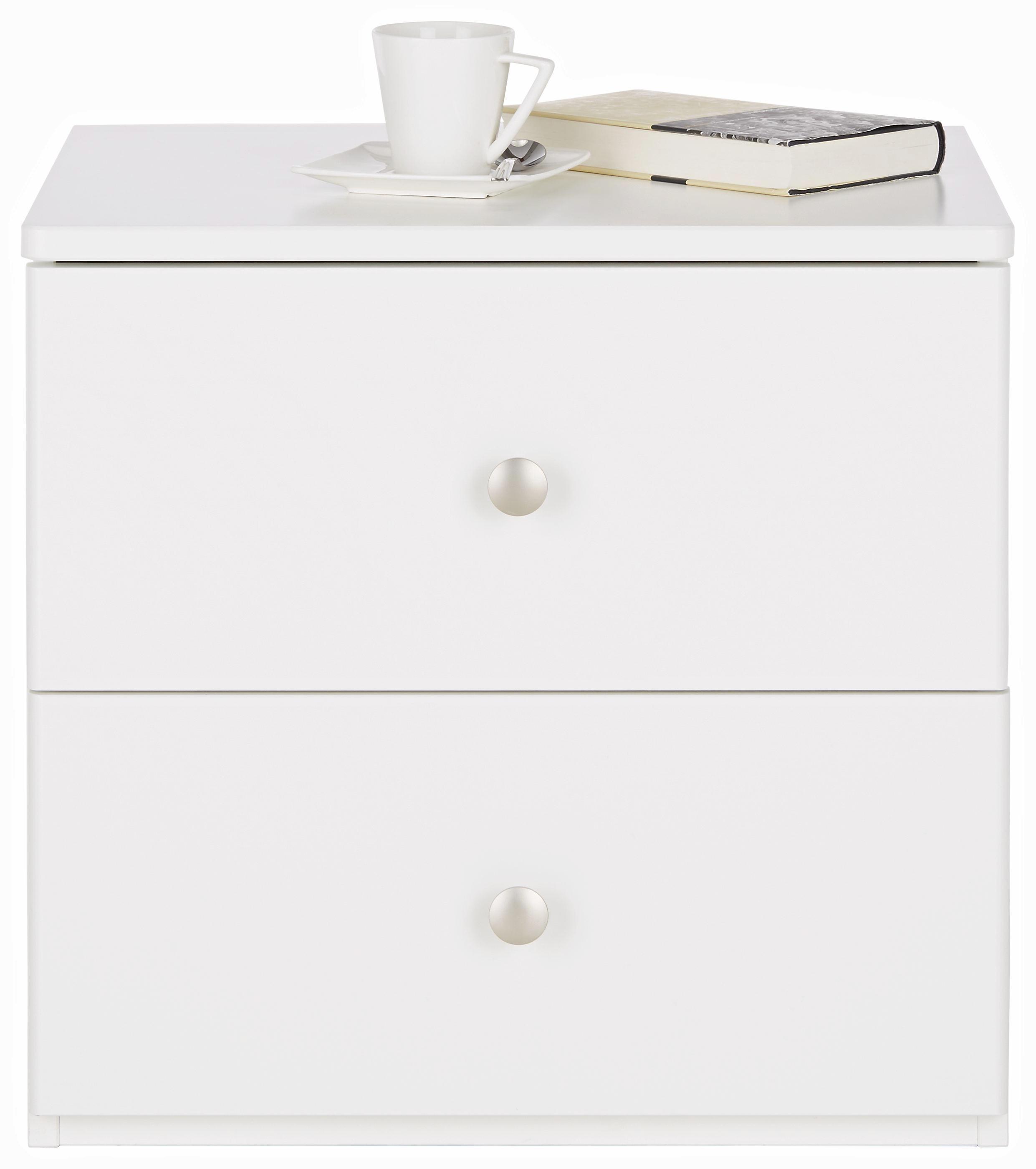 Nachtkästchen in Weiß - Silberfarben/Weiß, ROMANTIK / LANDHAUS, Holzwerkstoff/Metall (50/48/40cm) - ZANDIARA