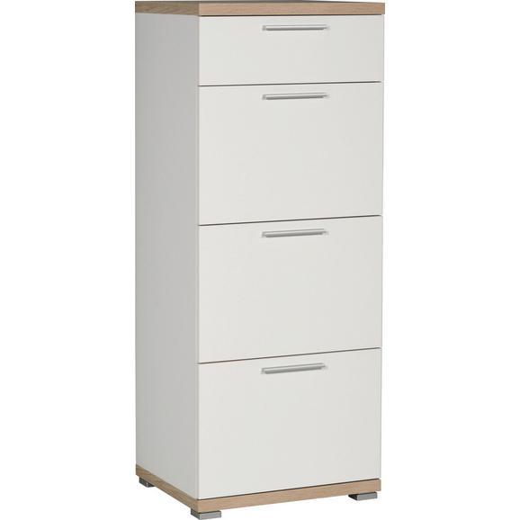 Kommode in Eichefarben/Weiß - Alufarben/Weiß, MODERN, Holzwerkstoff/Kunststoff (48/120/40cm) - Mömax modern living