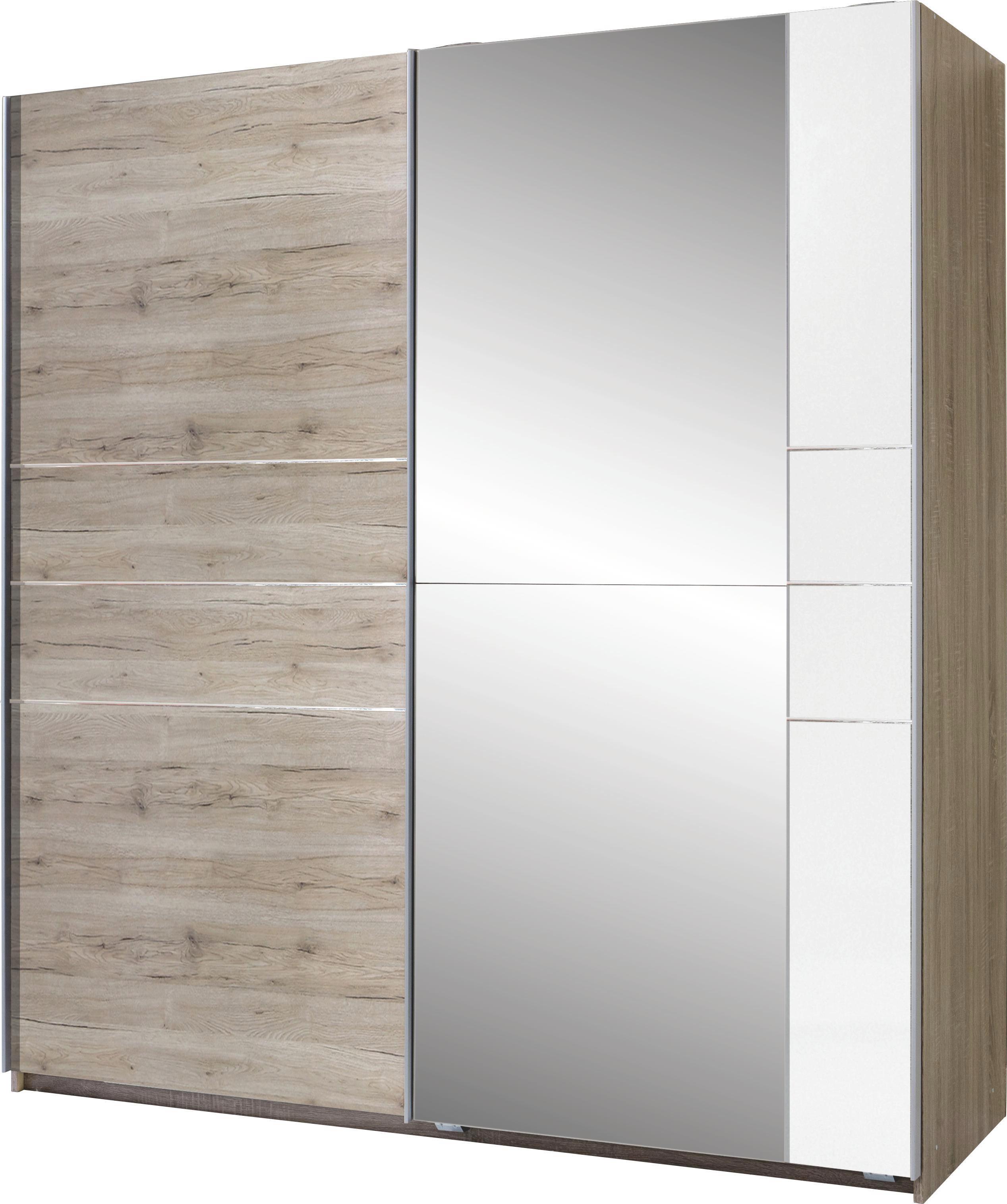 Tolóajtós Szekrény Stripe - tölgy színű, modern, fa (180/198/64cm)