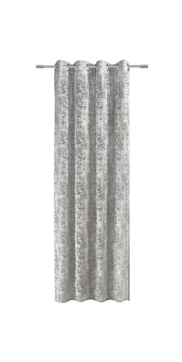 Ösenvorhang Granit, ca. 140x245cm - Silberfarben/Schwarz, LIFESTYLE, Textil (140/245cm) - Mömax modern living