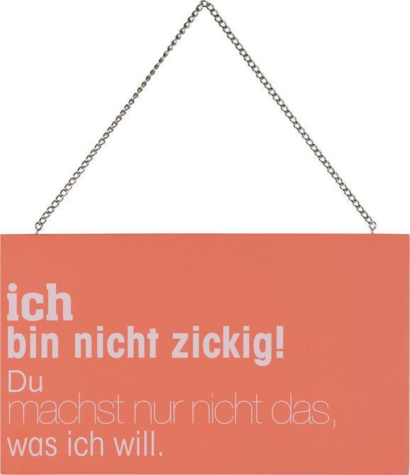 Dekoschild Reimi in Rosa/Weiß - Rosa/Weiß, Holzwerkstoff/Metall (23,2/13,5/0,5cm) - Mömax modern living