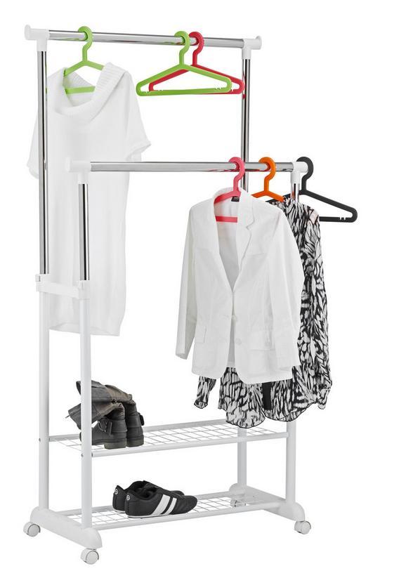 Kleiderwagen in Weiß/Chromfarben aus Eisen - Chromfarben/Weiß, Kunststoff/Metall (85/120-166,5/44cm) - MÖMAX modern living