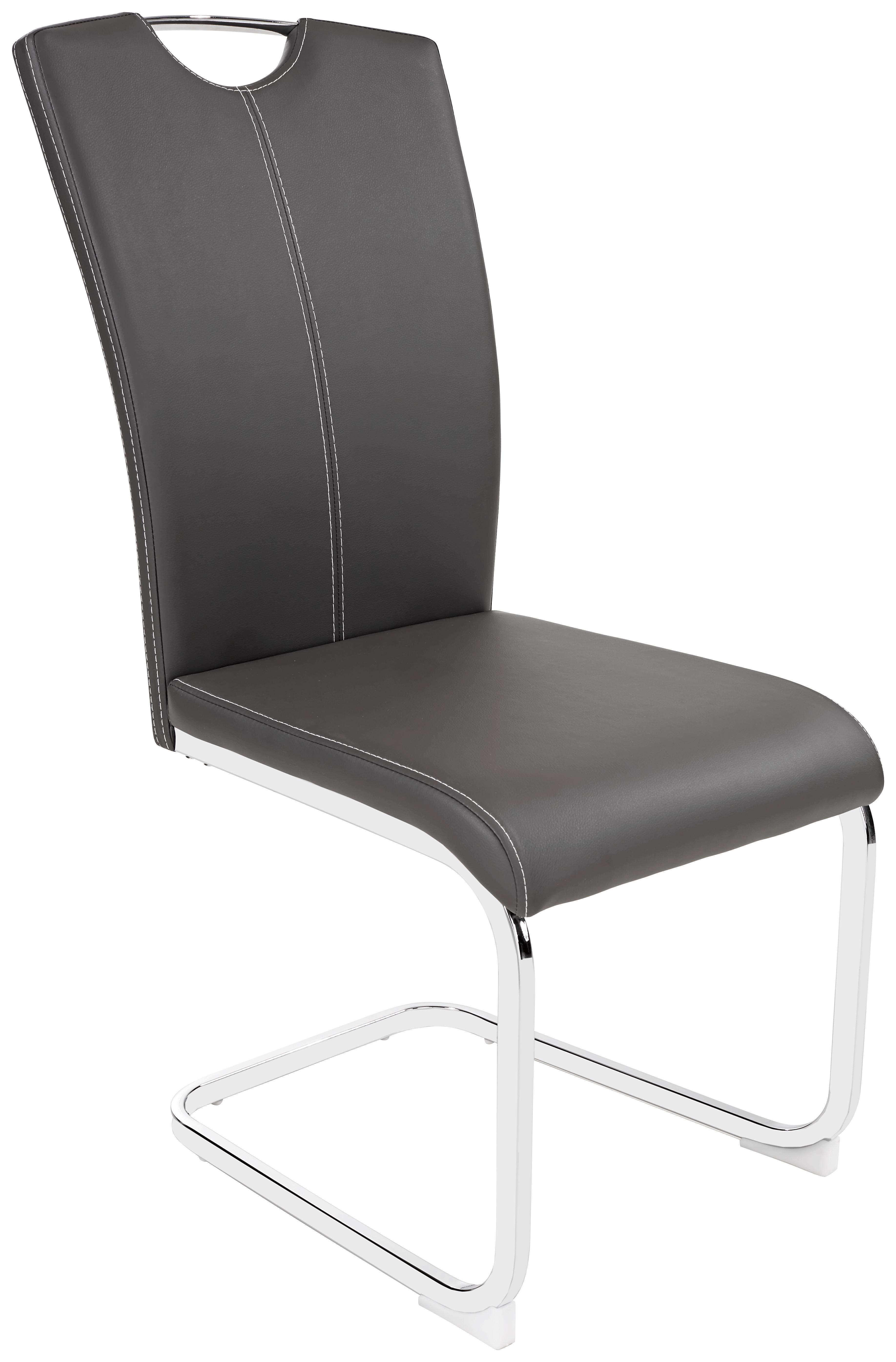 Szánkótalpas Szék Conny - krómszínű/fehér, modern, textil/fém (42,5/96,5/59cm)