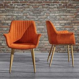 Armlehnstuhl Samantha - Orange, MODERN, Holz/Textil (59/82/65cm) - Mömax modern living