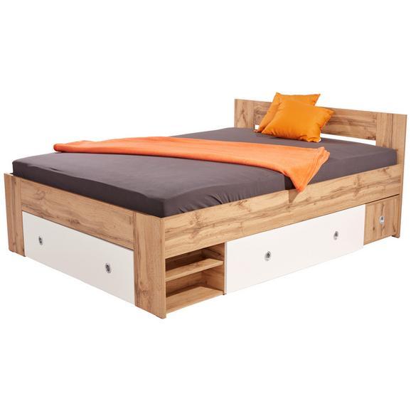 Pat Azzuro 140 - alb/stejar Wotan, Modern, compozit lemnos (140/200cm)